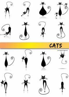 Cat doodles, line drawn kitties fun graphic cats Gato Doodle, Doodle Art, Tangle Doodle, Doodle Ideas, Doodles, Kitty Tattoos, Tattoo Cat, Cat Outline Tattoo, Fun Tattoo