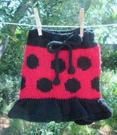 MOLLY CLOSE -  Ladybug Girl $35 // Handknit, eco-friendly ladybug skirty made with sustainable wool
