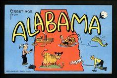 Large Letter Like linen postcard Cartoon Comic Style Kropp CM21 Alabama AL