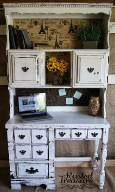 White Hutch desk (Before and After)