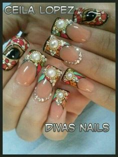 glamorously over-studded nails Sparkly Nails, Fancy Nails, Bling Nails, Love Nails, Pretty Nails, Bling Bling, My Nails, Toe Designs, Nail Art Designs