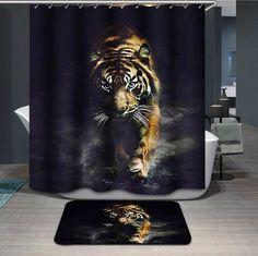 Leopard Shower curtain 3d modern Fabric creative zebra bath curtain tiger lion king animal waterproof bathroom curtain hook