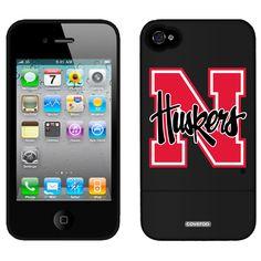 University of Nebraska N Huskers Schools design on iPhone 4 / 4S Slider Case by Coveroo in Black