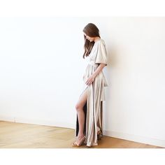 End of the Year Metallic Light Gold Bat-Sleeve Maxi Dress 1105 ($83) ❤ liked on Polyvore featuring dresses, gowns, silver, women's clothing, white evening dresses, evening party dresses, white evening gowns, white party dresses and formal gowns