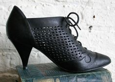 Vintage 80's Perforated Cut-Out Black Leather Bootie Oxfords
