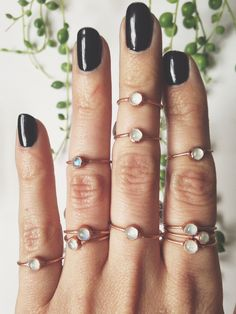 Dainty Moonstone Midi/Stacking Ring by LazuliHandcrafted on Etsy https://www.etsy.com/listing/222794653/dainty-moonstone-midistacking-ring