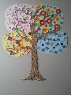Beautiful for Botany! I like this idea for a seasons art project. Preschool Crafts, Diy And Crafts, Crafts For Kids, Arts And Crafts, Paper Crafts, Daycare Crafts, Projects For Kids, Diy For Kids, Art Projects