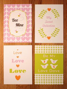 FREE PRINTABLE VALENTINES.. Here are some printable Valentines that I made just for you! I didn't want to use the typical color palette of pink and red, so I mixed it up a little and used pink, orange, and chartreuse.