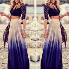 vestidos de dos piezas falda larga y blusa corta - Buscar con Google
