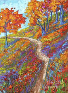 Stay on the Path - Modern Impressionist, Landscape Painting, oil palette knife Canvas Print / Canvas Art by Patricia Awapara