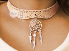 Leather Necklace With Dream Catcher Feathers Pendant Dream