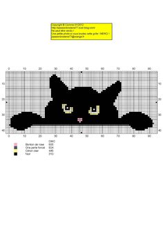 chat - cat - broderie - cross stitch - je me cache - Point de croix - Blog : http://broderiemimie44.canalblog.com/