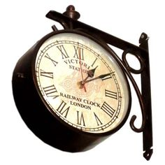 ANTIQUE VICTORIA STATION RAILWAY DOUBLE SIDE CLOCK LONDON WALL CLOCK HOME DECORE