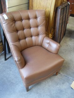 Brown Leather Executive Chair  Beautiful brown leather executive chair. Comfortable, stylish, and perfectly sized. This chair would look great in a home office, or a corner of the living room.  We currently have 4 chairs available.  Item # 1565-902