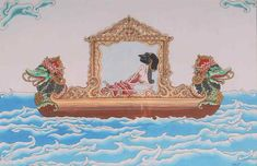 Sumbadra On The Boat - acrylic color on canvas, 46 x 30 cm Javanese, Acrylic Colors, Asian Art, Folk Art, Culture, Graphic Design, Paintings, Canvas, Drawings