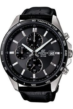 Casio Mens Edifice EFR512L8AV Black Leather Quartz Watch with Black Dial ** More info could be found at the image url. (This is an affiliate link and I receive a commission for the sales)