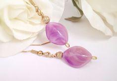 Pink dangle earrings  swirl beads antique gold by IAmMineJewelry