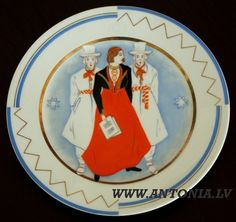 """Niklāvs Strunke (1894-1966) """"Dziedātāji pļaujas svētkos"""" 1933. Apgleznots porcelāna šķīvis """"Ripors"""", zeltījums. Diam. 25 cm Ls 1 500"""