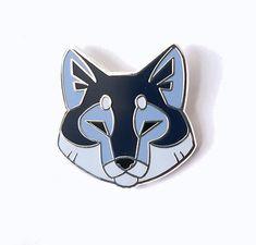 Angular Wolf Head Silver Metal Hard Enamel Pin by ShinePaw on Etsy