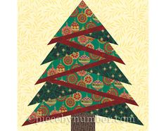 Pine Tree quilt block pattern paper piecing by PieceByNumberQuilts