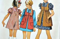 Simplicity Pattern Patterns Sewing 1970's Simplicity Pattern Vintage Simplicity Girl's Dress With Smock Pattern  Size 7 Uncut by treasurecoveally on Etsy