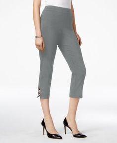 Jm Collection Lattice-Hem Capri Pants, Created for Macy's - Gray XXL