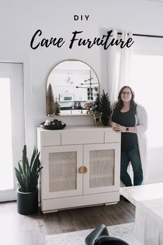 Want to try beautiful DIY Cane Furniture? This tutorial will show you have to prep, soak, and install cane during an easy cabinet makeover! Beautiful cane cabinet ideas for the dining room, living room, bedroom, etc are taking over the DIY world, and this easy video tutorial will show you exactly how to do your own simple thrifted or IKEA furniture flip! #furnitureflip #cane #cabinetmakeover