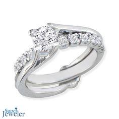 TREND ALERT! Unique Engagement Rings: Interlocking Spiraling 7/8ct Diamond Bridal Set in 14k White Gold