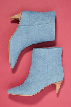See this Dolce Vita Dee Dee Kitten Heeled Booties from Anthropologie. Denim Heels, Leather Heels, Shoes Heels, Heeled Sandals, Strappy Sandals, High Heels, Flats, Low Heel Ankle Boots, Giuseppe Zanotti Heels