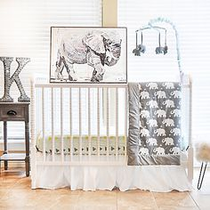 Pam Grace Creations Indie Elephant Crib Bedding Collection in Mint #ad  #nursery nursery, baby, newborn, baby shower, baby gift ideas