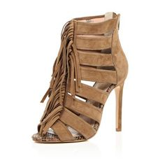 I'm shopping Brown suede tassel heels in the River Island iPhone app.