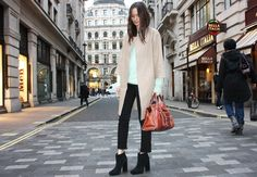 beige leather and fuzzy mint by columbine smille