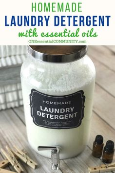 homemade HE liquid laundry detergent recipe with essential oils natural nontoxic it really works Removes odors cleans clothes rinses clean doTERRA Young Living essential. Cleaning Recipes, House Cleaning Tips, Cleaning Hacks, Diy Hacks, Green Cleaning, Diy Cleaning Cloths, Essential Oils For Laundry, Laundry Detergent Recipe, Natural Laundry Detergent