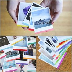 DIY Color Dipped Photos Give your Polaroid photos a pop of color with tape and acrylic paint! Diy Paper, Paper Crafts, Scrapbooking, Kids Scrapbook, Polaroid Pictures, Bath And Beyond Coupon, Diy Photo, Photo Ideas, Washi Tape