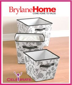 #OrganizeWithBrylaneHome & #CelebrateWomanToday 2 Winners for this Set of Open Canvas Storage Boxes -  Live Online Party on September 16, 2013 at 9 PM, Eastern Time