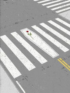 Dan Page, editorial illustration depicting pedestrian deaths. Minimal manipulation of the shape of one line implies a coffin, reinforced by the placement of the rose – the red rose draws our eye immediately to this point in the composition so we instantly read the visual metaphor.