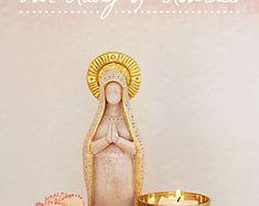 Our Lady of Lourdes - Virgin Mary Shrine Prayer Altar Statue, Mother Goddess, Meditation Space, Mother Mary, Fertility Goddess