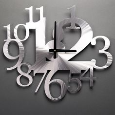 Big Time Clock by Sondra Gerber Contemporary hand-brushed aluminum wall clock. Bright and dynamic utilitarian art for your wall. Signed. 15 1/2 x 18""