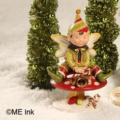 Elf on Mushroom Figural from The Holiday Barn