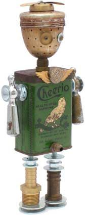 found object robot. so sweet! Recycled Robot, Recycled Art, Found Object Art, Found Art, Altered Tins, Altered Art, Art Antique, Faucet Handles, Find Objects