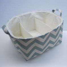 Diaper Caddy - with Separators / Dividers - Fabric Container Organizer Bin Basket Storage - Village Blue Chevron. $52.00, via Etsy.