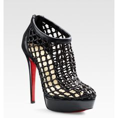 Christian Louboutin Coussin Caged Ankle Boots ($638) ❤ liked on Polyvore