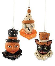 Halloween Trio Ornament Allen Cunningham Bethany Lowe Halloween Black Cat Skull