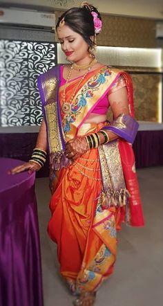 Bridal Hairstyle Indian Wedding, Indian Wedding Bride, Indian Bridal Fashion, Indian Bridal Wear, Indian Wedding Outfits, Indian Outfits, Marathi Bride, Bengali Bride, Marathi Saree