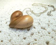 Wooden Heart necklace Carved Wood Womens pendant by ArsMakars