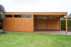 Design Gartenhaus mit Vordach aus Lärchenholz mit Flachdach, Rhombusschalung