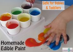 Homemade Edible Finger Paint | Learning 4 Kids Sensory Activities Toddlers, Baby Sensory, Infant Activities, Sensory Play, Infant Sensory, Edible Finger Paints, Edible Paint, Baby Crafts, Toddler Crafts