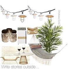 Write stories outside... by andreea-bota on Polyvore featuring polyvore, interior, interiors, interior design, home, home decor, interior decorating, Tom Dixon, MacKenzie-Childs, Indian Ocean, Nearly Natural and Michael Kors