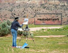 Here is a photo of me painting en alien air. I live in a beautiful State of Colorado. Love to paint outdoors. www.lindamooneyartist.com