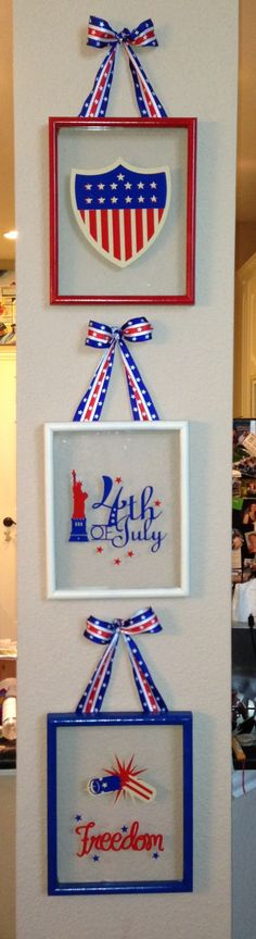DIY 4th of July holiday repurposed picture frames. Spray painted (repurposed) wood frames, hot glued glass to inside corners and cut vinyl on Cricut from the Independence Day cartridge. $4 total!  (# Cricut vinyl)
